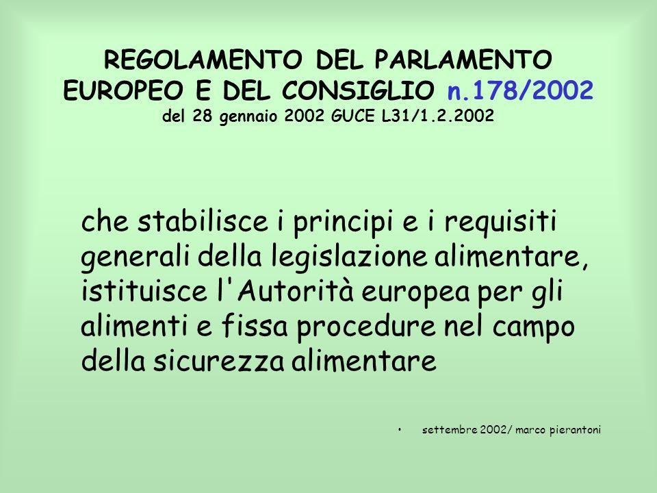 REGOLAMENTO DEL PARLAMENTO EUROPEO E DEL CONSIGLIO n.178/2002 del 28 gennaio 2002 GUCE L31/1.2.2002 che stabilisce i principi e i requisiti generali d