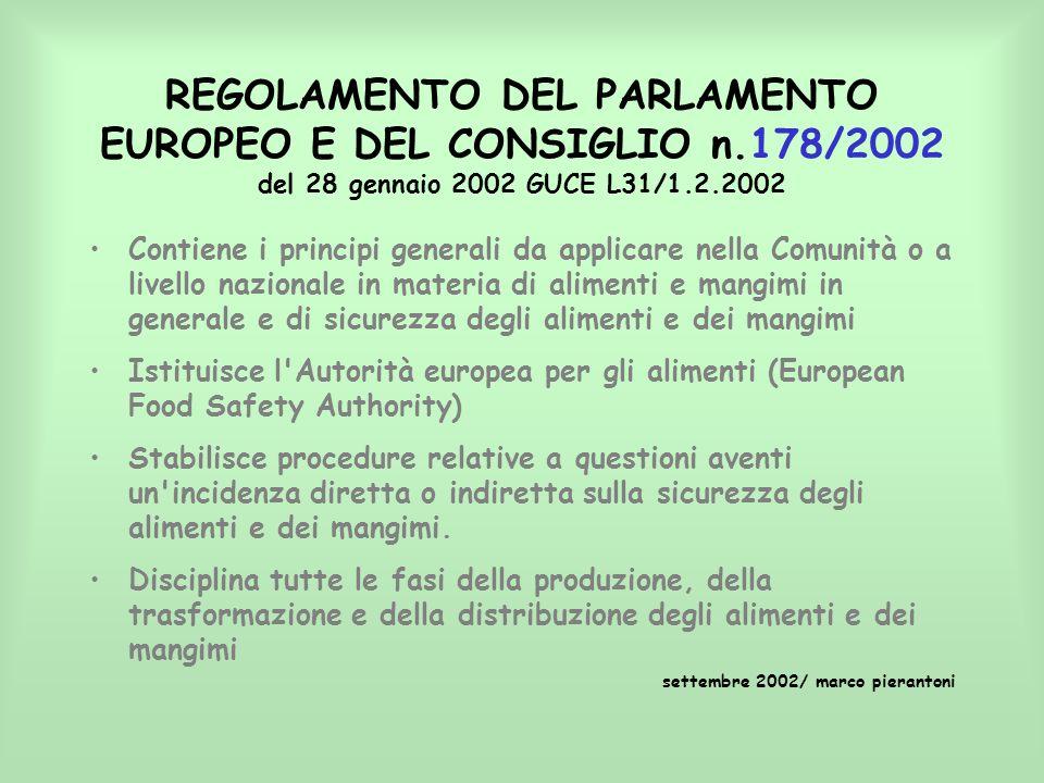 REGOLAMENTO DEL PARLAMENTO EUROPEO E DEL CONSIGLIO n.178/2002 del 28 gennaio 2002 GUCE L31/1.2.2002 Contiene i principi generali da applicare nella Co