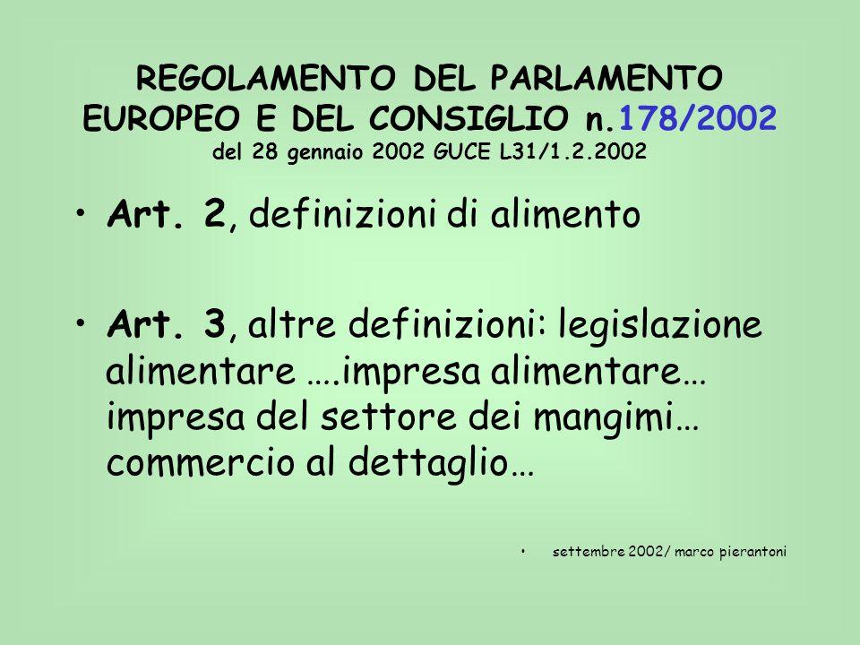 REGOLAMENTO DEL PARLAMENTO EUROPEO E DEL CONSIGLIO n.178/2002 del 28 gennaio 2002 GUCE L31/1.2.2002 Art. 2, definizioni di alimento Art. 3, altre defi