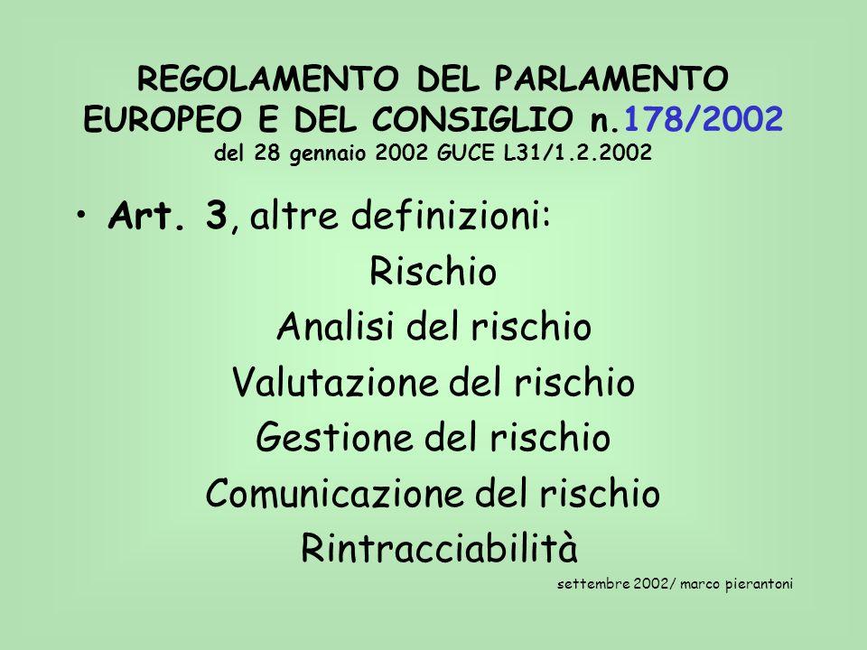 REGOLAMENTO DEL PARLAMENTO EUROPEO E DEL CONSIGLIO n.178/2002 del 28 gennaio 2002 GUCE L31/1.2.2002 Art. 3, altre definizioni: Rischio Analisi del ris