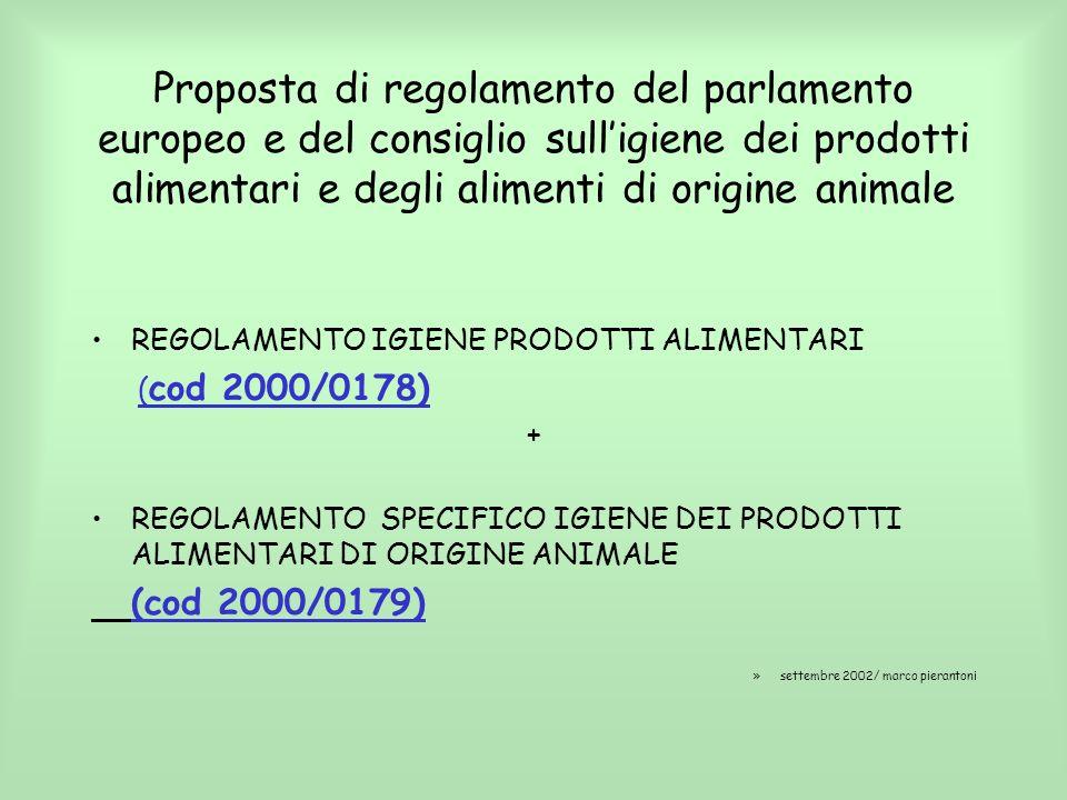 Proposta di regolamento del parlamento europeo e del consiglio sulligiene dei prodotti alimentari e degli alimenti di origine animale REGOLAMENTO IGIE