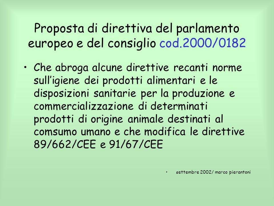 Proposta di direttiva del parlamento europeo e del consiglio cod.2000/0182 Che abroga alcune direttive recanti norme sulligiene dei prodotti alimentar
