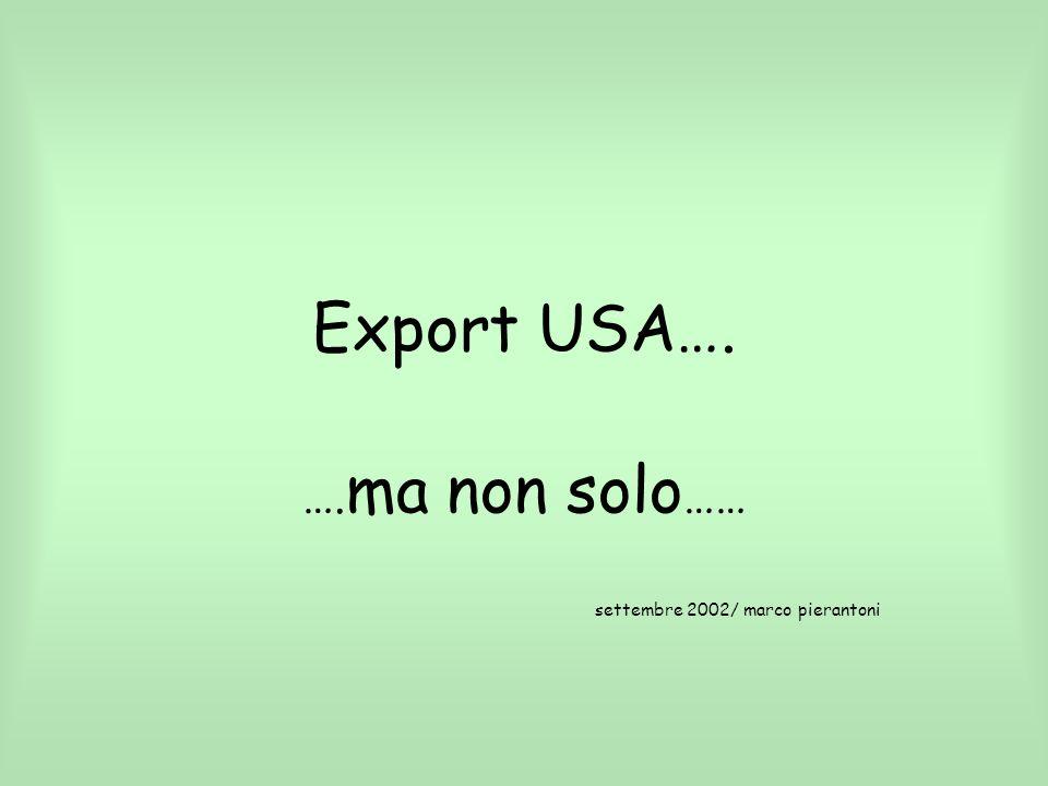 Export USA…. …. ma non solo …… settembre 2002/ marco pierantoni