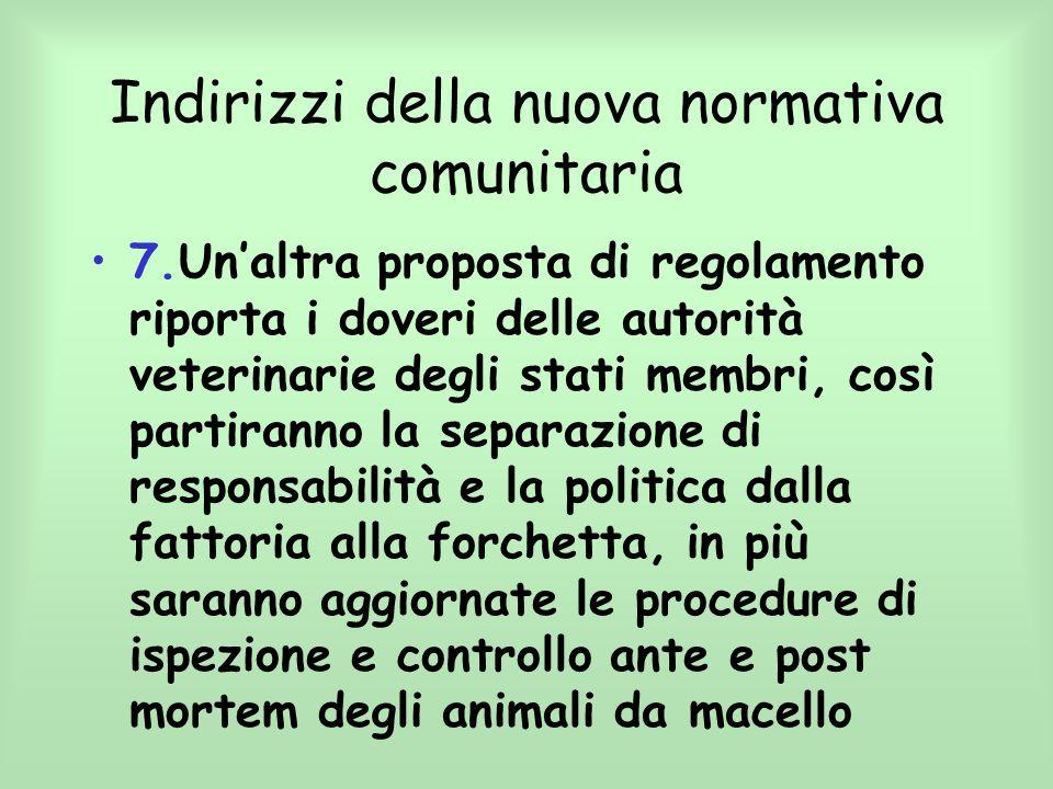 Indirizzi della nuova normativa comunitaria 7.Unaltra proposta di regolamento riporta i doveri delle autorità veterinarie degli stati membri, così par