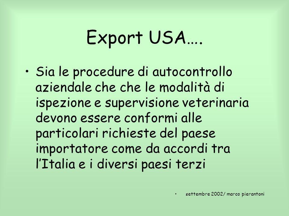 Export USA…. Sia le procedure di autocontrollo aziendale che che le modalità di ispezione e supervisione veterinaria devono essere conformi alle parti