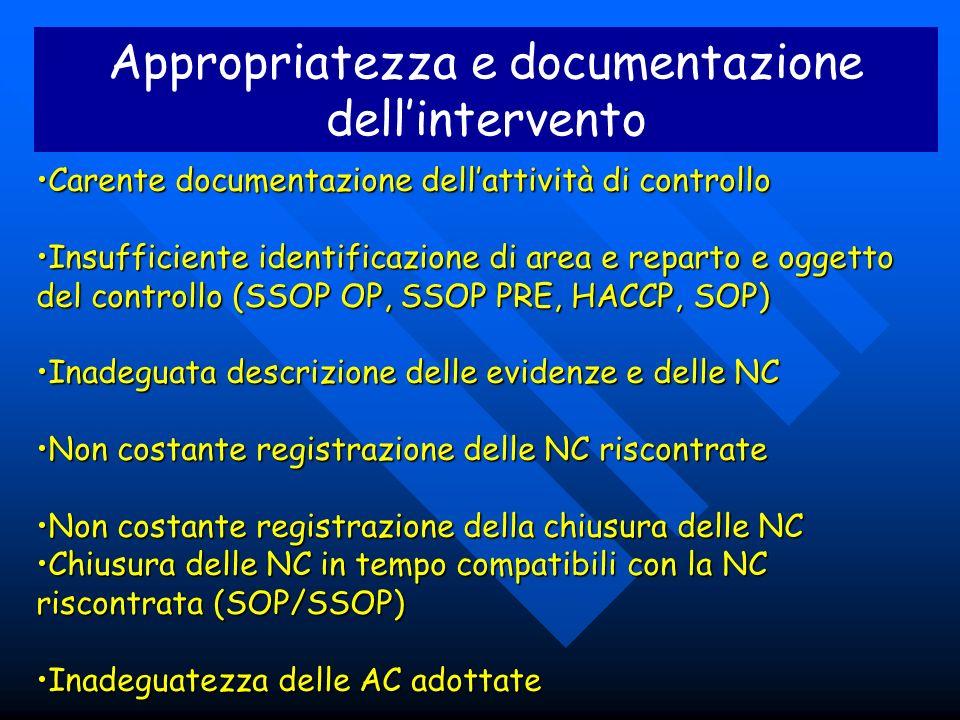Appropriatezza e documentazione dellintervento Carente documentazione dellattività di controlloCarente documentazione dellattività di controllo Insuff