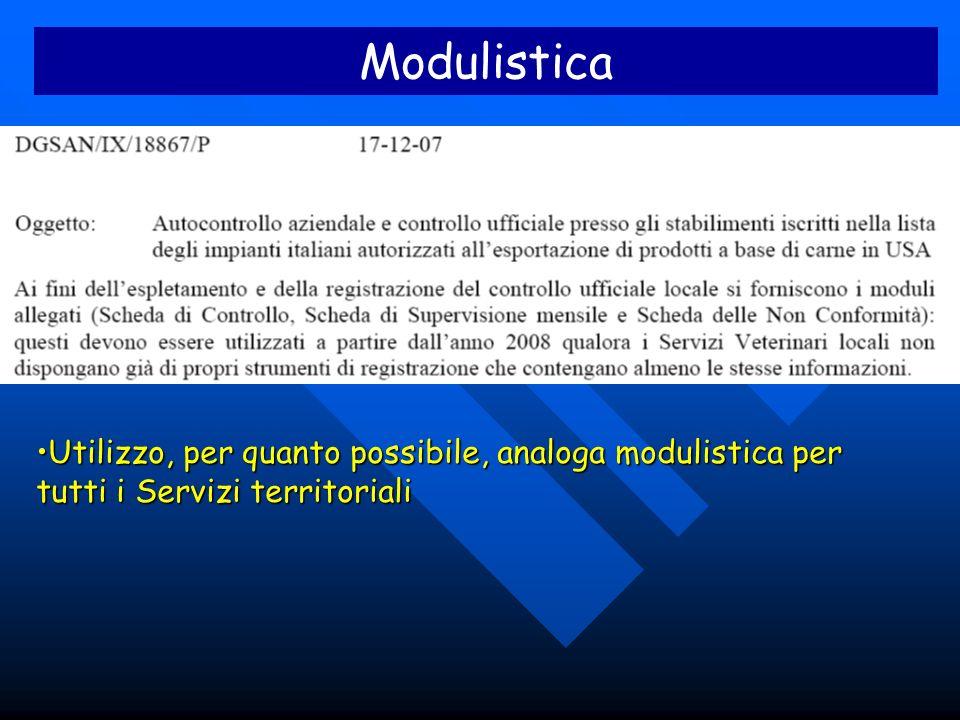Modulistica Utilizzo, per quanto possibile, analoga modulistica per tutti i Servizi territorialiUtilizzo, per quanto possibile, analoga modulistica pe
