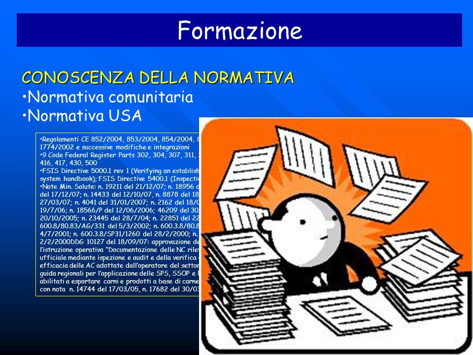 Formazione CONOSCENZA DELLA NORMATIVA Normativa comunitaria Normativa USA Regolamenti CE 852/2004, 853/2004, 854/2004, 882/2004, 2073/2005, 1774/2002