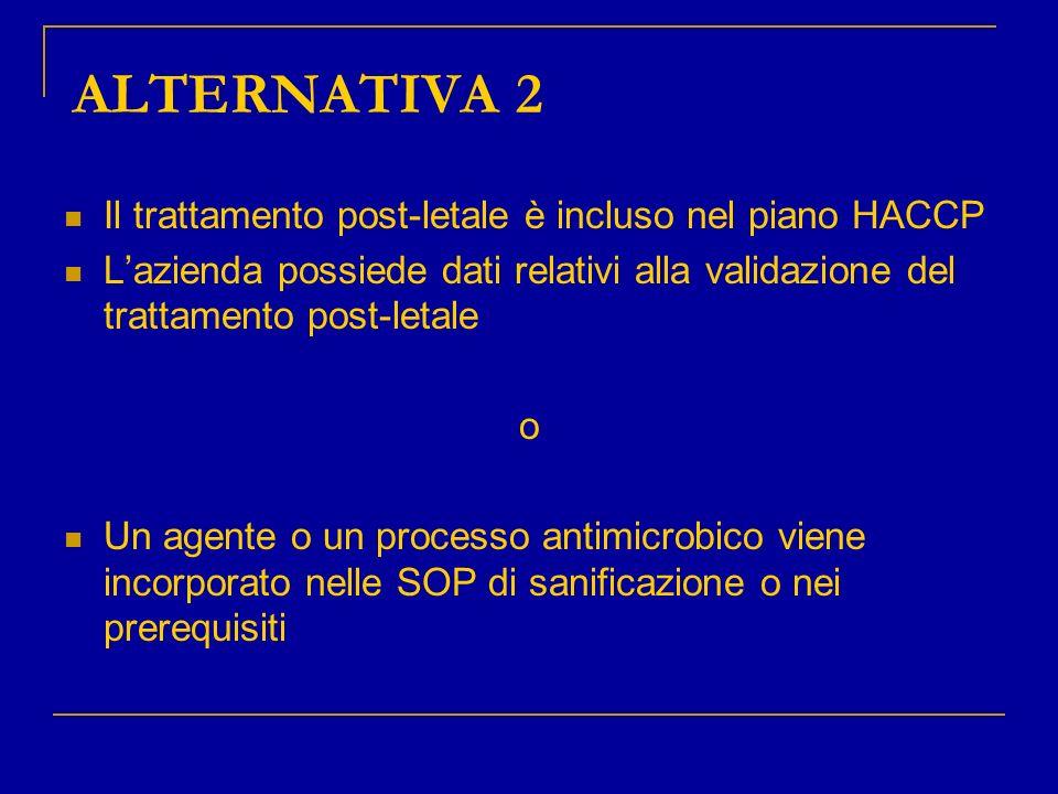 ALTERNATIVA 2 Il trattamento post-letale è incluso nel piano HACCP Lazienda possiede dati relativi alla validazione del trattamento post-letale o Un a