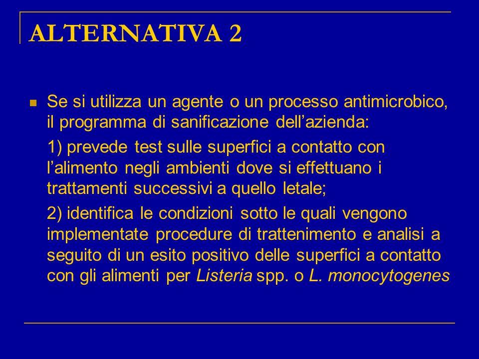 ALTERNATIVA 2 Se si utilizza un agente o un processo antimicrobico, il programma di sanificazione dellazienda: 1) prevede test sulle superfici a conta