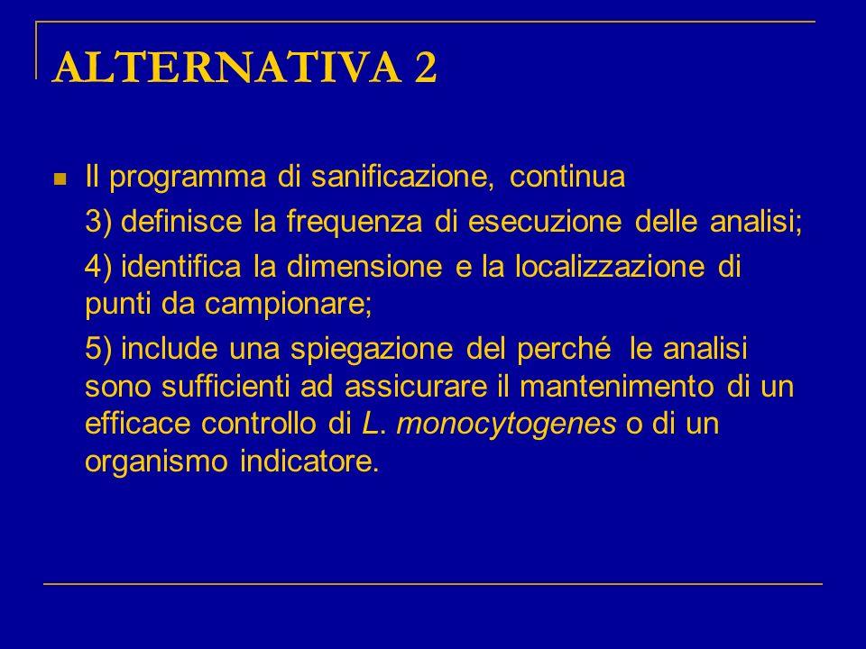 ALTERNATIVA 2 Il programma di sanificazione, continua 3) definisce la frequenza di esecuzione delle analisi; 4) identifica la dimensione e la localizz