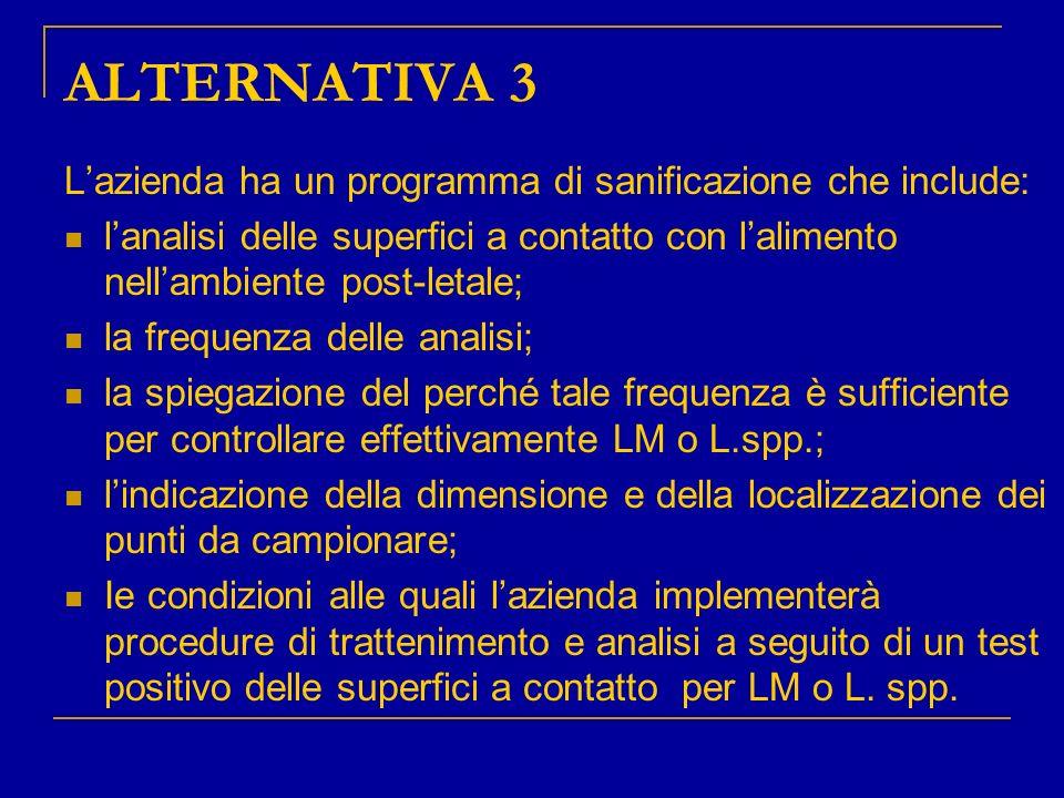 ALTERNATIVA 3 Lazienda ha un programma di sanificazione che include: lanalisi delle superfici a contatto con lalimento nellambiente post-letale; la fr