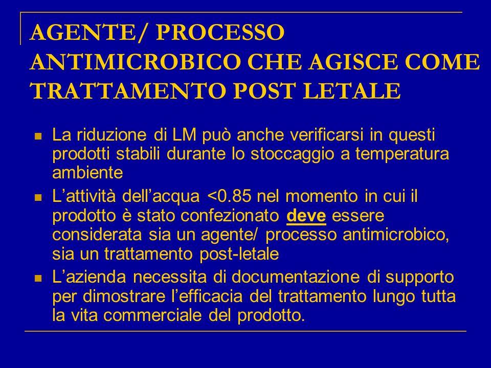 AGENTE/ PROCESSO ANTIMICROBICO CHE AGISCE COME TRATTAMENTO POST LETALE La riduzione di LM può anche verificarsi in questi prodotti stabili durante lo