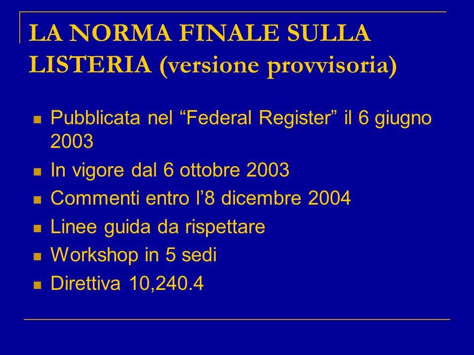 LA NORMA FINALE SULLA LISTERIA (versione provvisoria) Pubblicata nel Federal Register il 6 giugno 2003 In vigore dal 6 ottobre 2003 Commenti entro l8