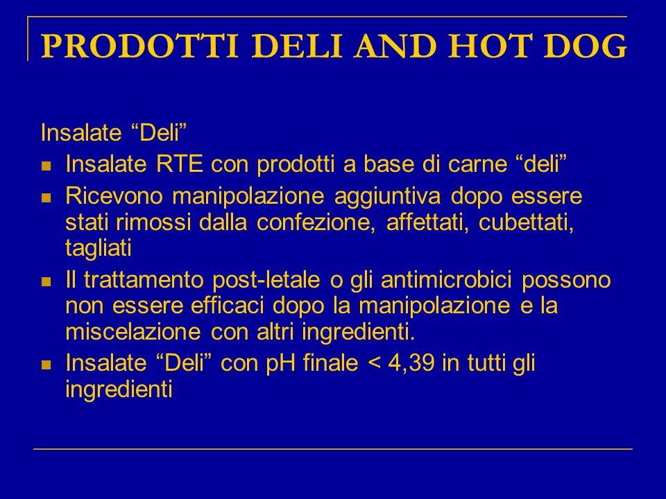 PRODOTTI DELI AND HOT DOG Insalate Deli Insalate RTE con prodotti a base di carne deli Ricevono manipolazione aggiuntiva dopo essere stati rimossi dal