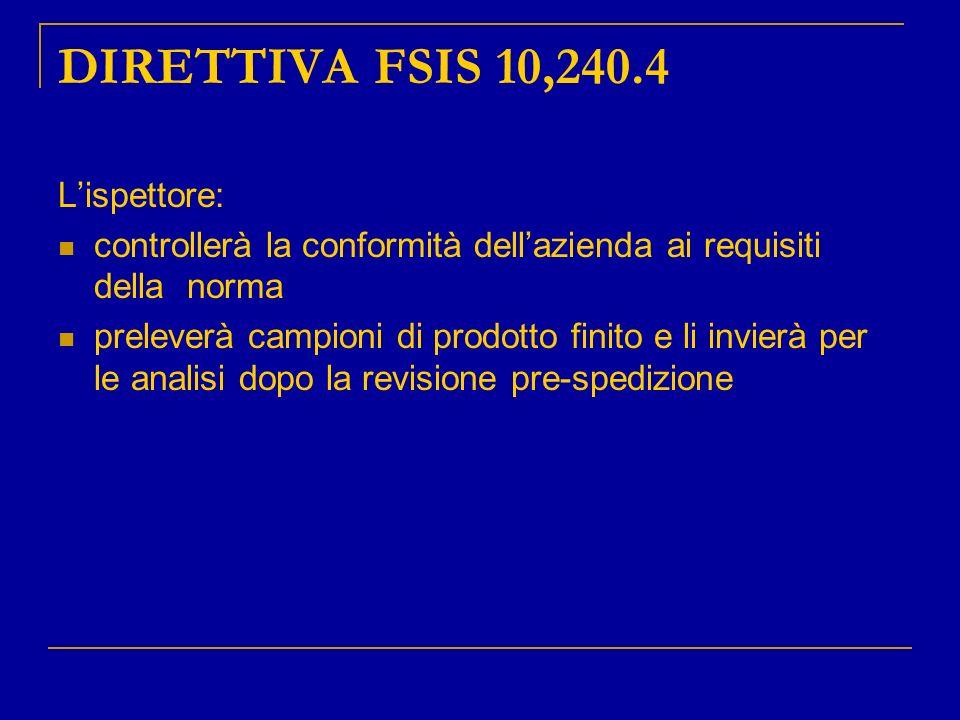 DIRETTIVA FSIS 10,240.4 Lispettore: controllerà la conformità dellazienda ai requisiti della norma preleverà campioni di prodotto finito e li invierà