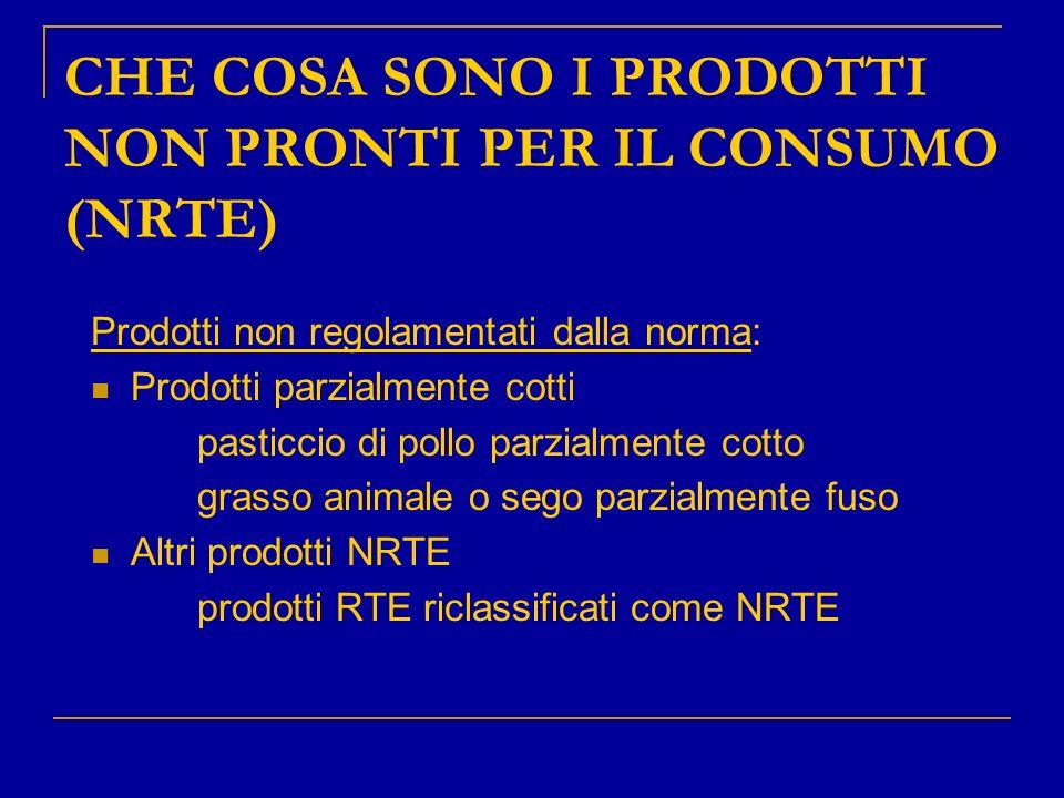 CHE COSA SONO I PRODOTTI NON PRONTI PER IL CONSUMO (NRTE) Prodotti non regolamentati dalla norma: Prodotti parzialmente cotti pasticcio di pollo parzi
