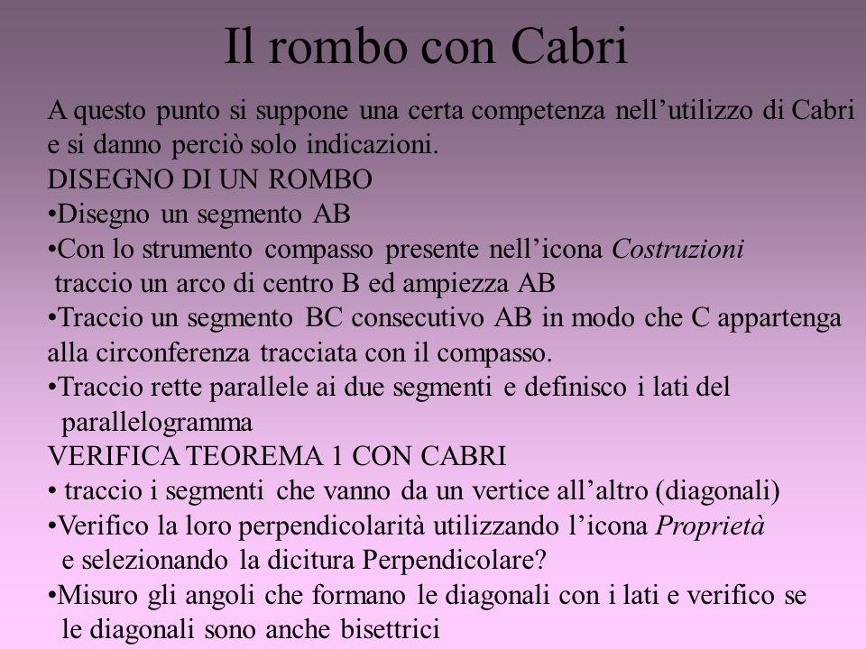 Il rombo con Cabri A questo punto si suppone una certa competenza nellutilizzo di Cabri e si danno perciò solo indicazioni. DISEGNO DI UN ROMBO Disegn