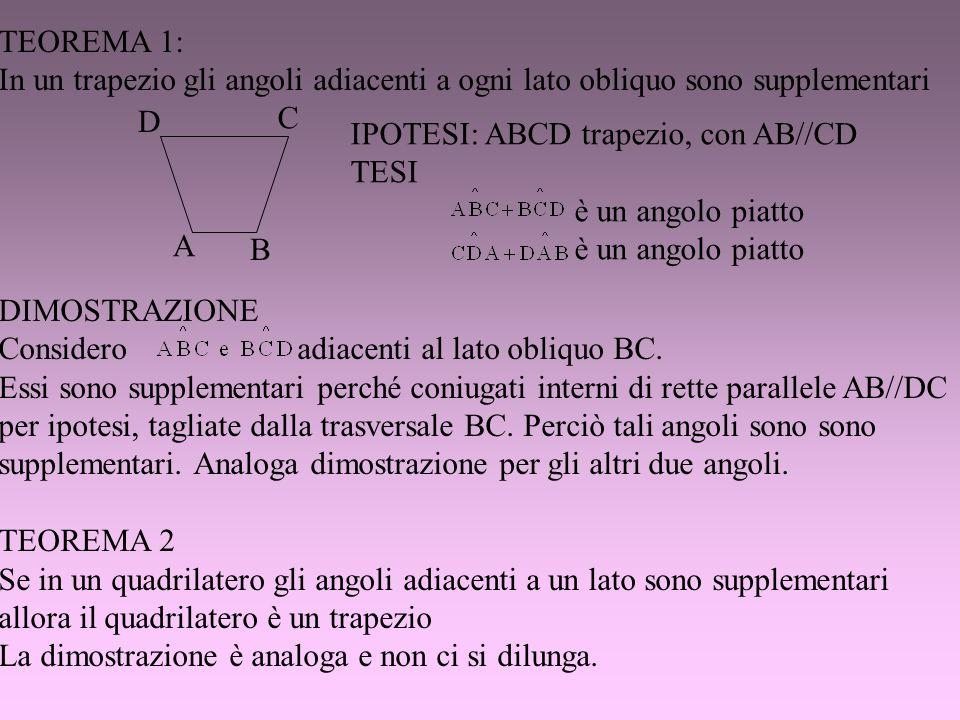 TEOREMA 1: In un trapezio gli angoli adiacenti a ogni lato obliquo sono supplementari DIMOSTRAZIONE Considero adiacenti al lato obliquo BC. Essi sono