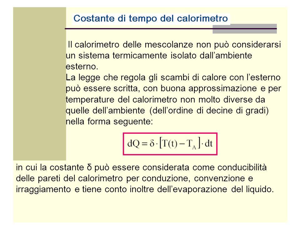 Il calorimetro delle mescolanze non può considerarsi un sistema termicamente isolato dallambiente esterno. La legge che regola gli scambi di calore co