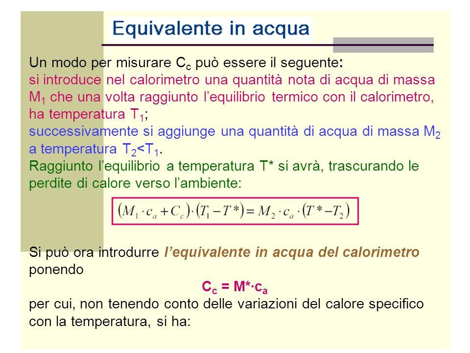Un modo per misurare C c può essere il seguente: si introduce nel calorimetro una quantità nota di acqua di massa M 1 che una volta raggiunto lequilib