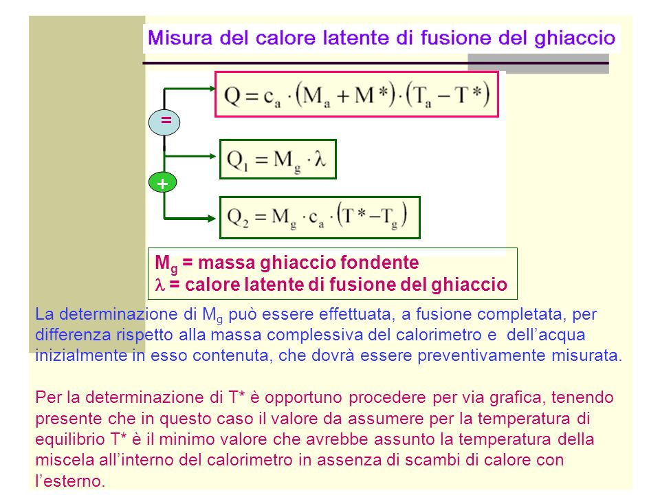 M g = massa ghiaccio fondente = calore latente di fusione del ghiaccio La determinazione di M g può essere effettuata, a fusione completata, per diffe