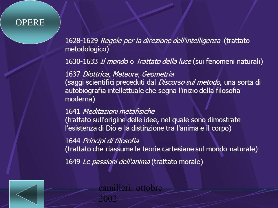 camilleri. ottobre 2002 Descartes, René (La Haye, Turenna 1596 - Stoccolma 1650), noto anche col nome italianizzato di Cartesio, filosofo, scienziato