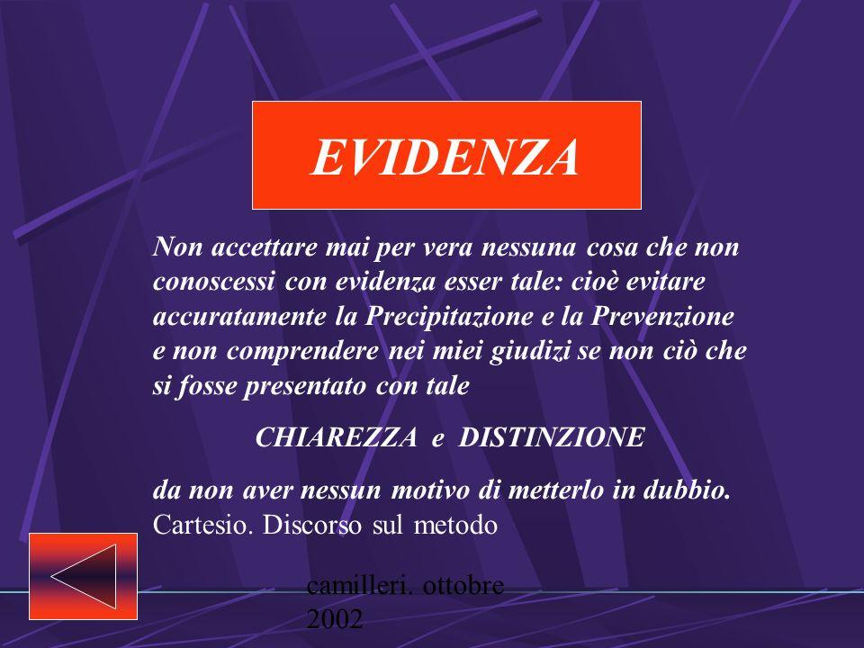 camilleri. ottobre 2002 Le regole del metodo EVIDENZA ANALISI SINTESI ENUMERAZIONE