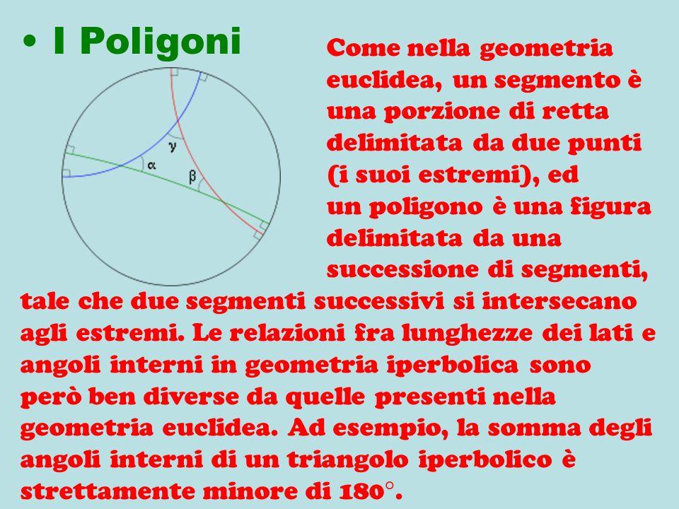 Come nella geometria euclidea, un segmento è una porzione di retta delimitata da due punti (i suoi estremi), ed un poligono è una figura delimitata da