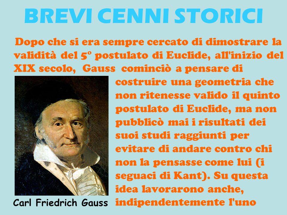 Dopo che si era sempre cercato di dimostrare la validità del 5° postulato di Euclide, all'inizio del XIX secolo, Gauss cominciò a pensare di costruire