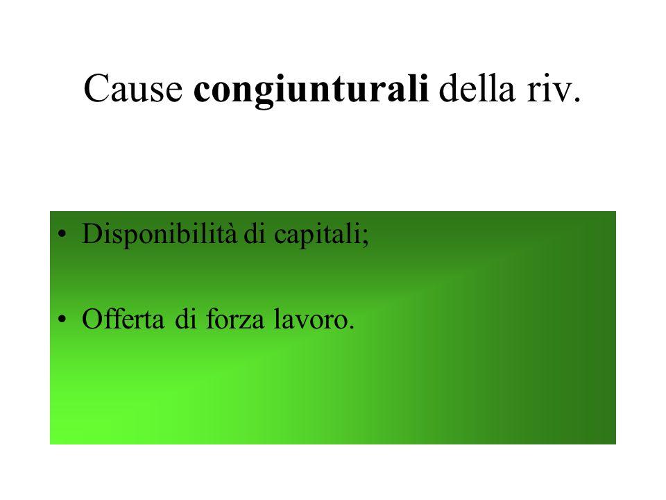 Cause congiunturali della riv. Disponibilità di capitali; Offerta di forza lavoro.