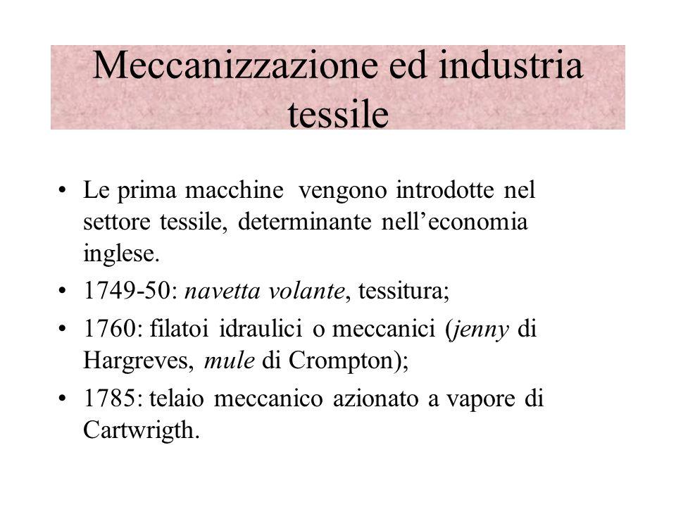 Meccanizzazione ed industria tessile Le prima macchine vengono introdotte nel settore tessile, determinante nelleconomia inglese. 1749-50: navetta vol