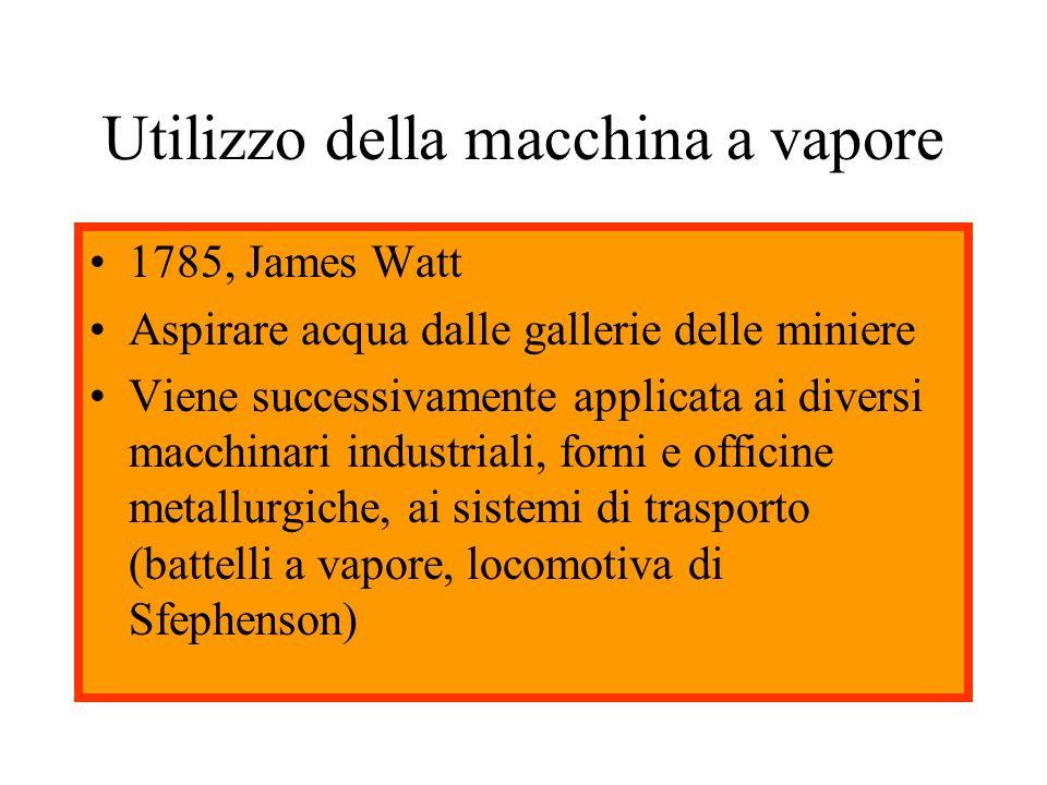 Utilizzo della macchina a vapore 1785, James Watt Aspirare acqua dalle gallerie delle miniere Viene successivamente applicata ai diversi macchinari in