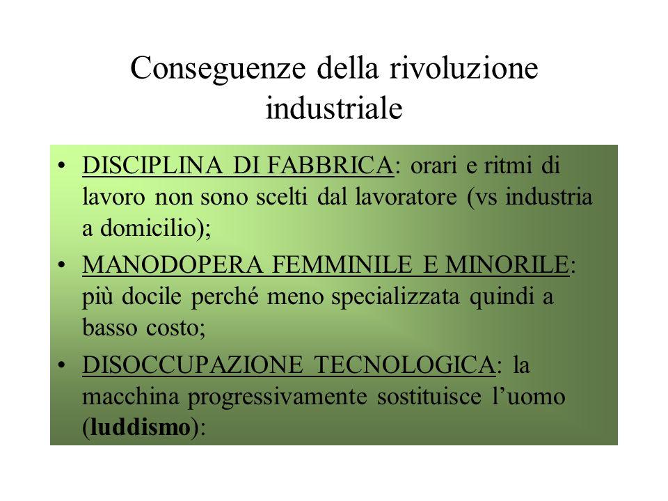 Conseguenze della rivoluzione industriale DISCIPLINA DI FABBRICA: orari e ritmi di lavoro non sono scelti dal lavoratore (vs industria a domicilio); M