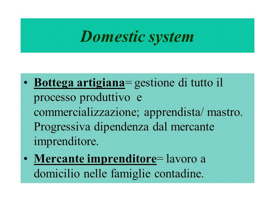 Domestic system Bottega artigiana= gestione di tutto il processo produttivo e commercializzazione; apprendista/ mastro. Progressiva dipendenza dal mer