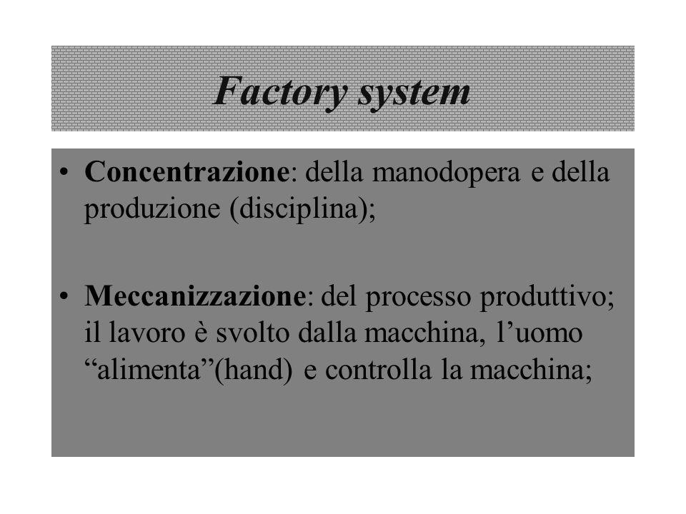 Factory system Concentrazione: della manodopera e della produzione (disciplina); Meccanizzazione: del processo produttivo; il lavoro è svolto dalla ma