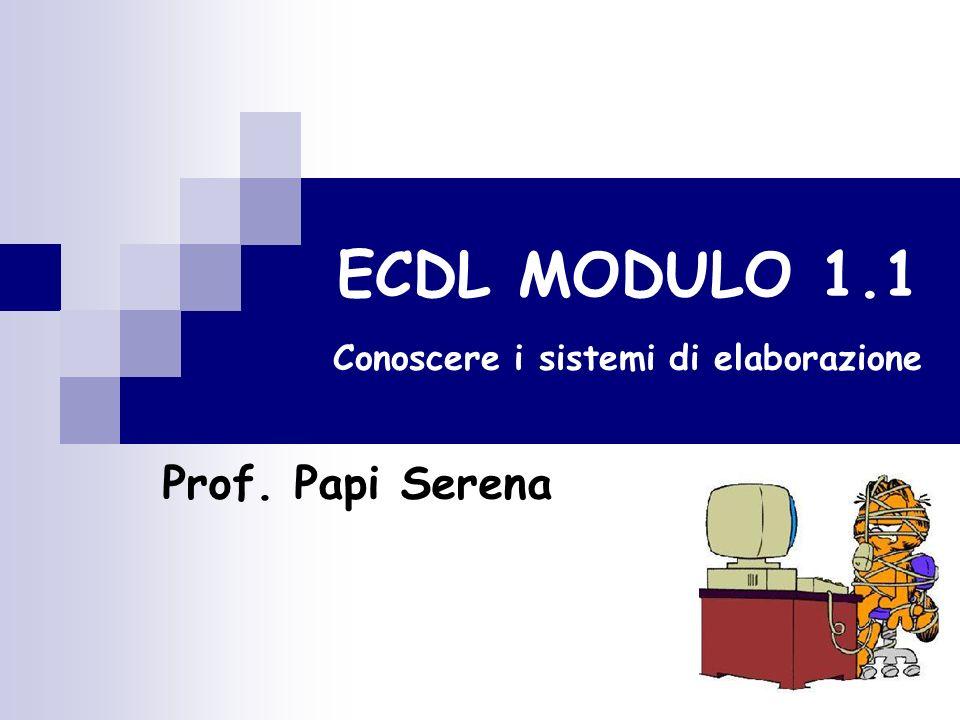 ECDL MODULO 1.1 Conoscere i sistemi di elaborazione Prof. Papi Serena