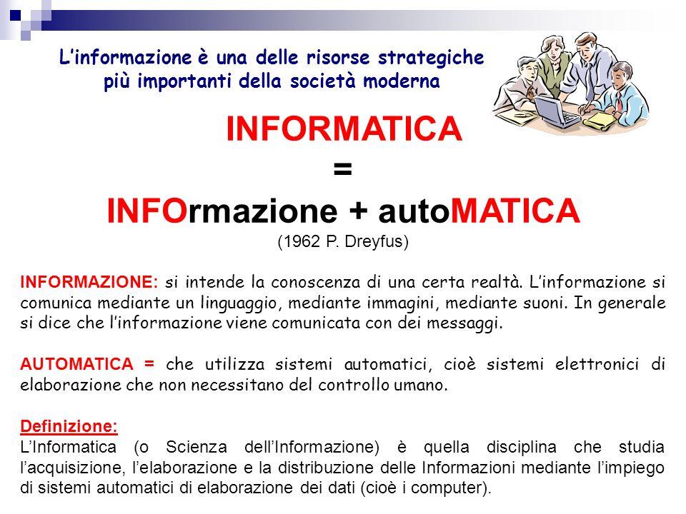 INFORMATICA = INFOrmazione + autoMATICA (1962 P.