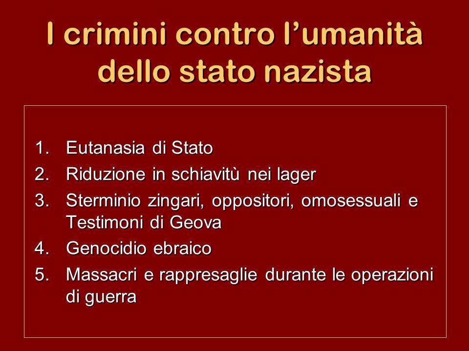 I crimini contro lumanità dello stato nazista 1.Eutanasia di Stato 2.Riduzione in schiavitù nei lager 3.Sterminio zingari, oppositori, omosessuali e T