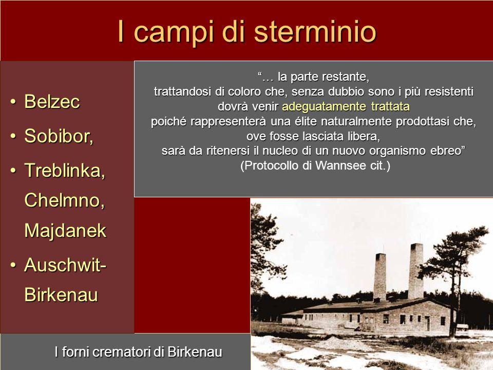 I campi di sterminio I forni crematori di Birkenau BelzecBelzec Sobibor,Sobibor, Treblinka, Chelmno, MajdanekTreblinka, Chelmno, Majdanek Auschwit- Bi