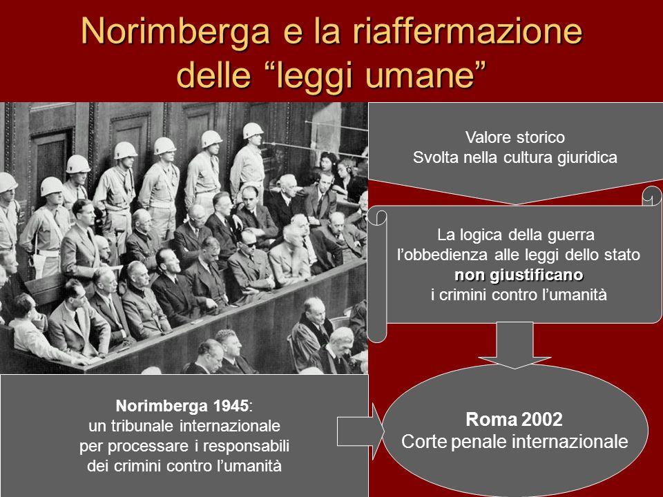 Norimberga e la riaffermazione delle leggi umane Norimberga 1945: un tribunale internazionale per processare i responsabili dei crimini contro lumanit