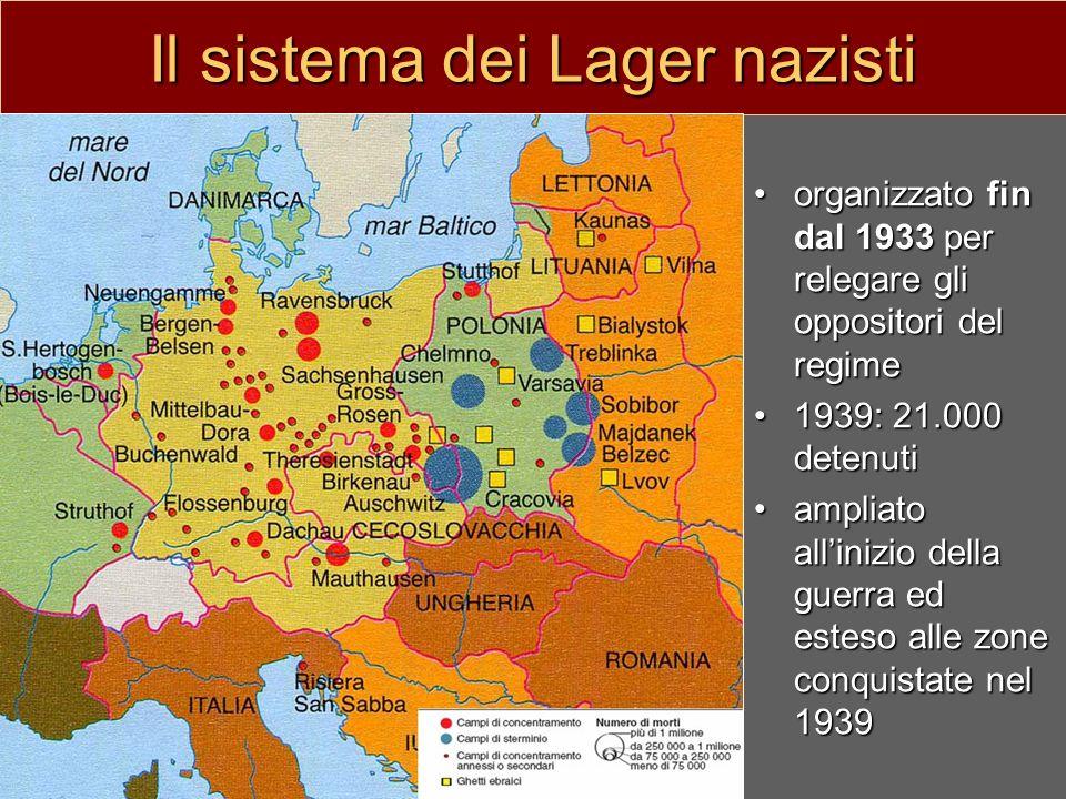 Il sistema dei Lager nazisti organizzato fin dal 1933 per relegare gli oppositori del regime 1939: 21.000 detenuti ampliato allinizio della guerra ed