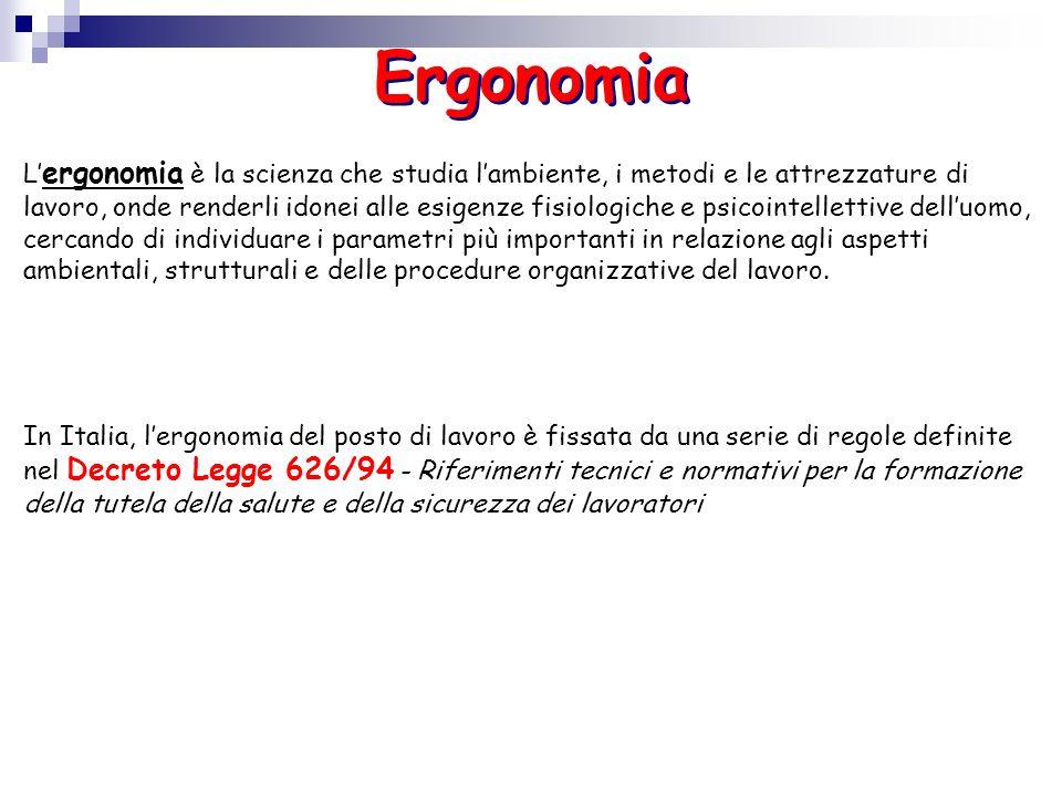 Ergonomia L ergonomia è la scienza che studia lambiente, i metodi e le attrezzature di lavoro, onde renderli idonei alle esigenze fisiologiche e psico
