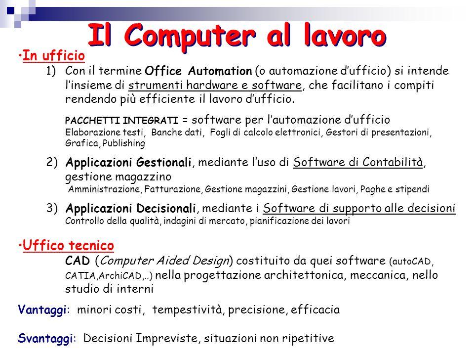 Il Computer al lavoro In ufficio 1)Con il termine Office Automation (o automazione dufficio) si intende linsieme di strumenti hardware e software, che