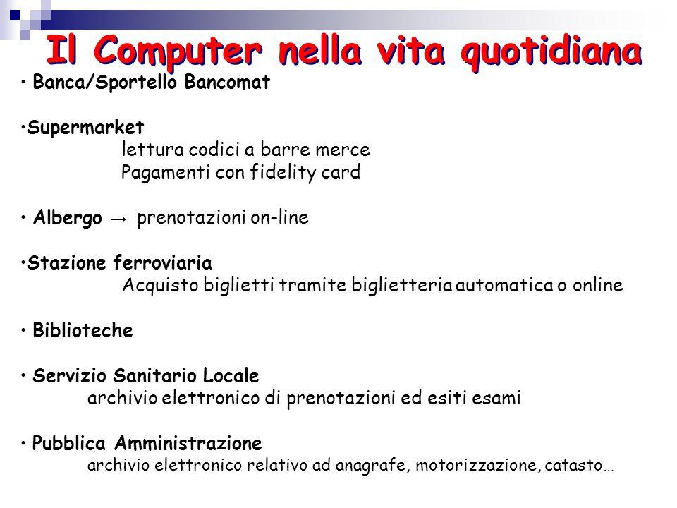 Il Computer nella vita quotidiana Banca/Sportello Bancomat Supermarket lettura codici a barre merce Pagamenti con fidelity card Albergo prenotazioni o