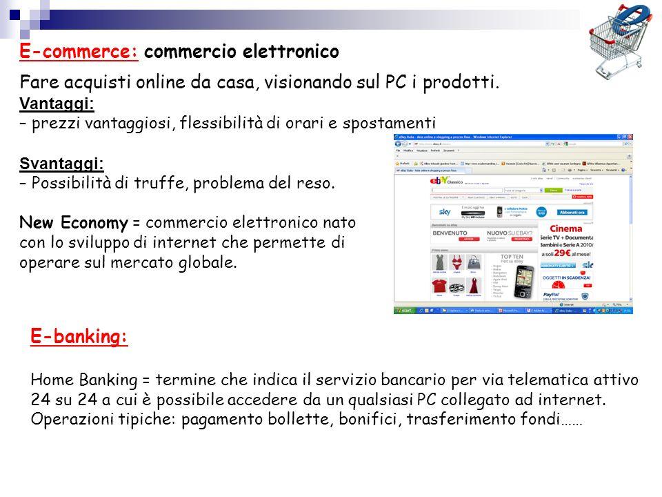 E-banking: Home Banking = termine che indica il servizio bancario per via telematica attivo 24 su 24 a cui è possibile accedere da un qualsiasi PC col