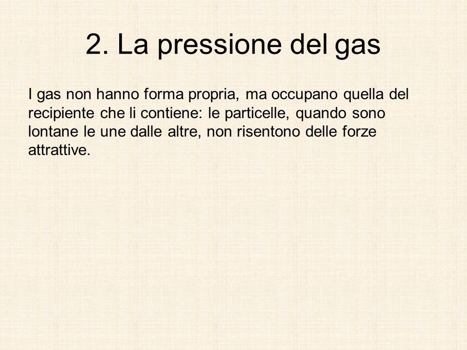 2. La pressione del gas I gas non hanno forma propria, ma occupano quella del recipiente che li contiene: le particelle, quando sono lontane le une da