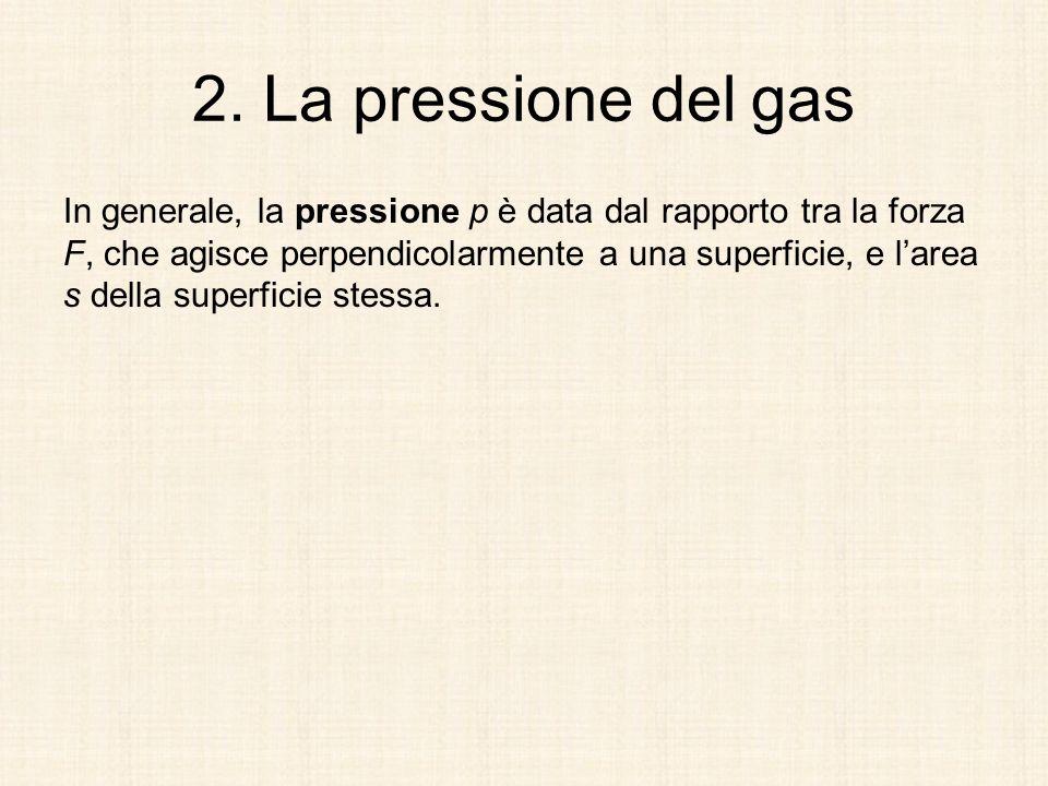 2. La pressione del gas In generale, la pressione p è data dal rapporto tra la forza F, che agisce perpendicolarmente a una superficie, e larea s dell