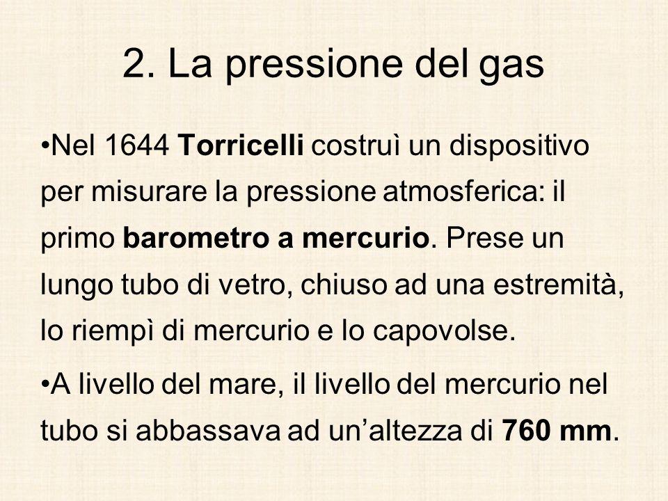 2. La pressione del gas Nel 1644 Torricelli costruì un dispositivo per misurare la pressione atmosferica: il primo barometro a mercurio. Prese un lung