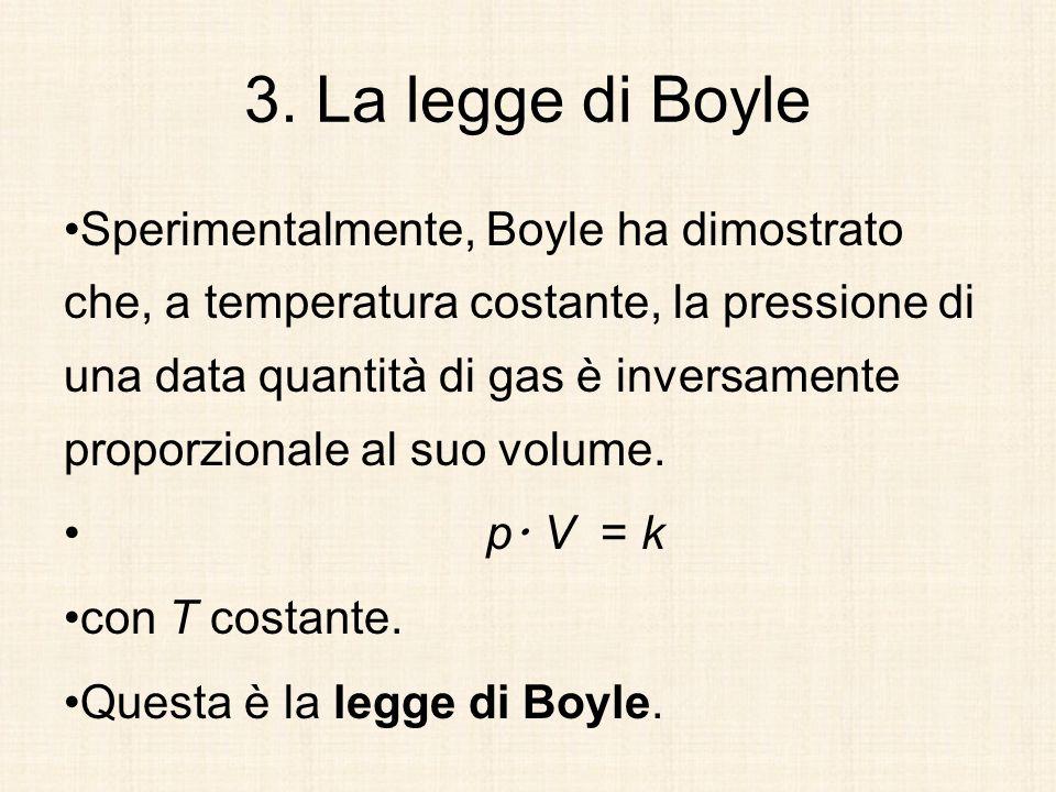 3. La legge di Boyle Sperimentalmente, Boyle ha dimostrato che, a temperatura costante, la pressione di una data quantità di gas è inversamente propor
